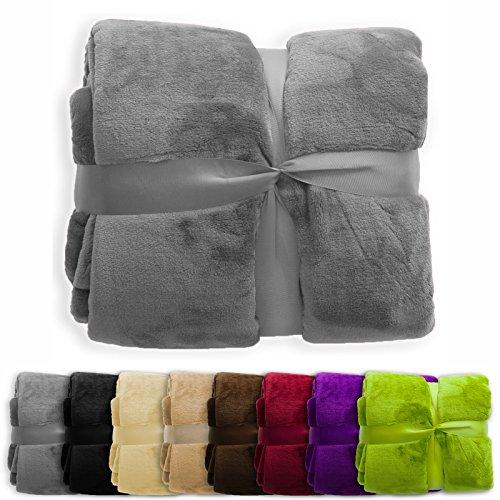 XXL Decke Glory | uni dunkelgrau | super weiche Wohndecke / Kuscheldecke | 2 Größen und 8 Farben verfügbar | 150x200cm