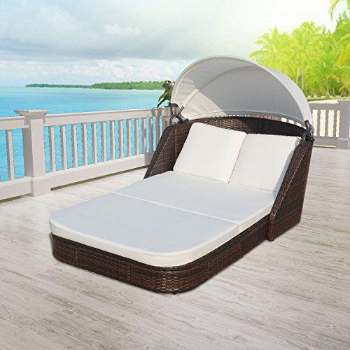 SSITG Sonnenliege Loungeliege Gartenliege Relaxliege Liege mit Dach Poly Rattan Garten