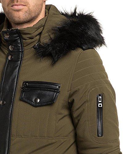 Gov Denim - Man khaki Jacke Reißverschluss Kapuze Pelz Grün
