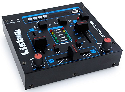 WJG Industrievertretung DJ Mischpult Party Musik Mixer USB/MP3 Crossfading Talkover Kanalfading MX-200USB (Mixer Musik)