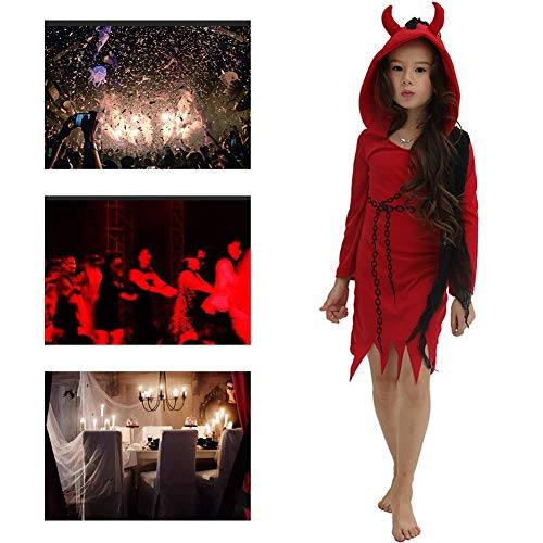 JH&MM Halloween Kostüm Kind Mädchen Kette Teufel Roter Rock Set Cosplay Party Game Maskerade Kostüm,S (Rote Teufel Kostüm Kind)