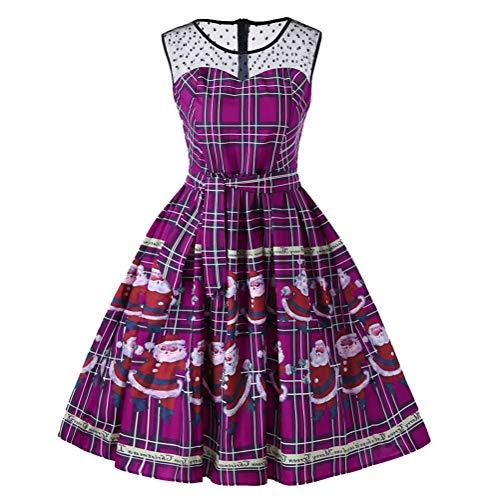 Bluelucon Damen Frohe Weihnachten Frauen Printed Long Sleeve Abend Prom Party Tanz Cosplay Schlank Kostüm Swing Kleid ()