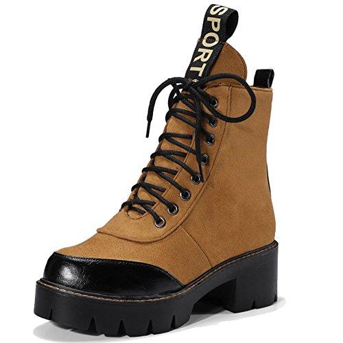 Minetom Femme Automne Hiver Lacets Punk Martin Boots Lettres Imprimer Bottes Chelsea Courtes Cheville Bottines Bloc Chaussures