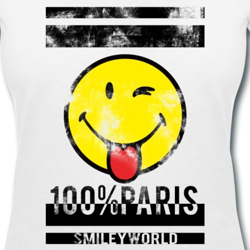 Smiley World 100% Paris Émoticône T-shirt col V Femme de Spreadshirt® Blanc