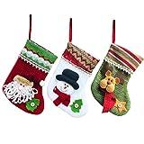 SAMGOO 3er Set Weihnachtsmann Schneemann Elch Sortiert Weihnachsstrumpf Samt Hängende Strümpfe Weihnachtssocke für Weihnachtsdeko