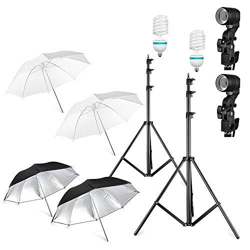 Ombrello illuminazione continua Kit per studio fotografico con 2 x 85W Lampadine a risparmio energetico/2 x treppiedi lampada e spina/2 x traslucido ombrellone e 2 ombrellone riflettore UE