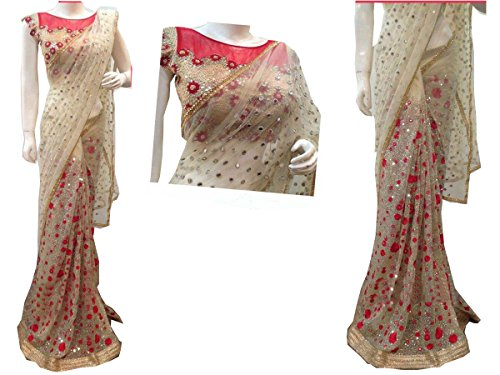 I-Brand Cream Color Naylon Mono Net Fabric Multiwork Saree ( New Arrival Latest Best Choice and Design Beautiful Sarees and Salwar suits and Dress Material Collection For Women and Girl Party wear F