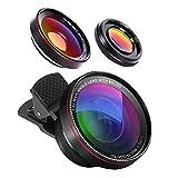 HD Handy Objektiv Set,GuckZahl 2 in 1 HD Kamera Objektiv Kit  - 0.6X Weitwinkelobjektiv & 15X Makroobjektiv - Clip-On-Objektive für iPhone X, iPhone 8/7 Plus/7/6s Plus/6s/Samsung Mobiltelefone und Tablets