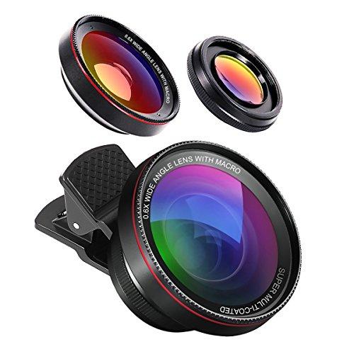 HD Handy Objektiv Set,2 in 1 Kamera Kit - 0.6X Weitwinkelobjektiv & 15X Makroobjektiv - Clip-On-Objektive für IOS/Android Mobiltelefone und Tablets