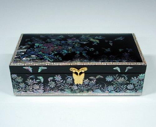 Mère de perle fleur et oiseaux Noir LAQUE ASIATIQUE bijoux en bois faite à la main Inscription Boîte à Bijoux Coffre Trésor Étui de rangement