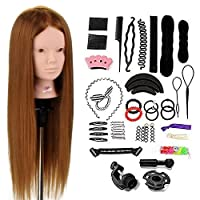 """Training Head, Neverland Hairdressing Head 24"""" Brown 50% Real Human Hair Cosmetology Hairdressing Mannequin Manikin Doll with Makeup Function+ Hair Stying Braid Set+ Free Clamp"""