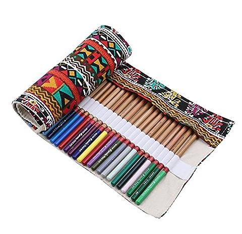 Topjin étudiants Bureau portable Grande toile Crayons étui enroulable guides de crayon Wrap 36 Holes Multicoloured