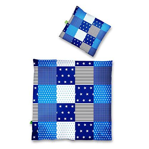 Lumaland Premium Baumwoll Baby- und Kinderbettwäsche mit YKK Reißverschluss 80 x 80 cm mit Kopfkissenbezug 35 x 40 cm Motiv Patchwork