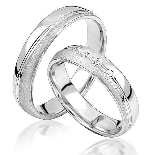 JC Eheringe Verlobungsringe Trauringe Freundschaftsringe Silber 925 Sterling * inkl. GRATIS Etui und Zirkonia Steine * S052-S