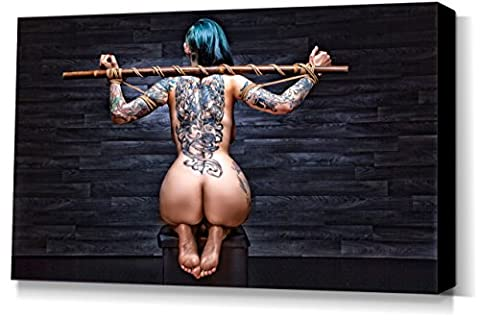 Tied Tattoo Girl - stretched canvas print - Fine Art of Bondage, sexy erotic fetish BDSM wall art, 40x60 cm, 16