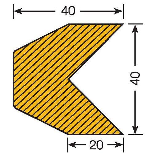 Praktische Panda 422.23.243.5422.23.243Traffic Line Impact Fassung Kantenschutz, magnetisch, Trapeze 40/40, Länge 1000mm, Gelb/Schwarz (5Stück)