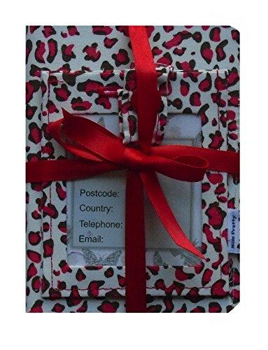 Red Animal Print corrispondenza raccoglitore del passaporto e la valigia etichetta di viaggio accessori Gift