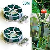 2x 30m Flexible alambre planta de jardín & Cortador Dispensador con línea, revestimiento de PVC planta apoyo–Soporte para plantas/Formación