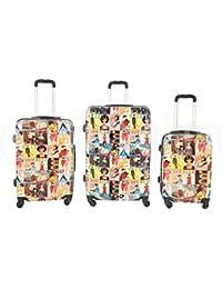 Set de 3 maletas rigidas 4 ruedas de policarbonato abs extremista ligero equipage pequeno de cabina art riviste