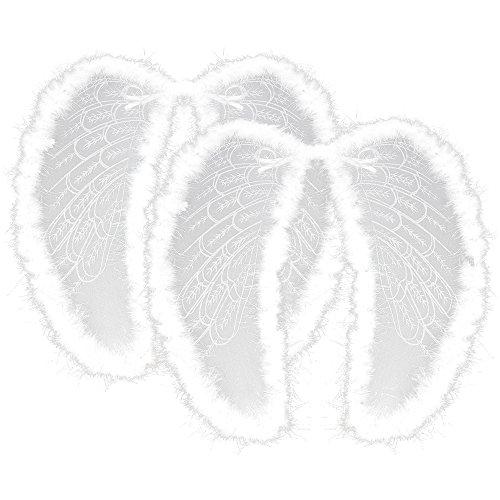 COM-FOUR® 2x Engelsflügel aus Organza und Federn in weiß, Kostüm-Zubehör Flügel zum Umhängen für Karneval, Fasching, Halloween und Motto-Partys (02 Stück) (Fee Deluxe Accessoire Kostüm)