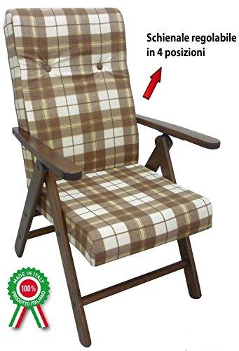 Totò piccinni poltrona sedia sdraio molisana lusso in legno reclinabile 4 posizioni (marrone)