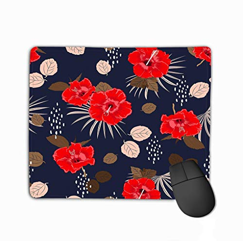 ed Hibiscus Exotic floral Pattern Spring Summer Background Tropical Flowers Palm Leaves Hawaiian Rectangle Rubber Mousepad 11.81 X 9.84 Inch ()