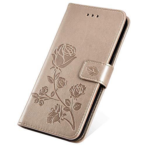 SainCat Kompatibel mit Galaxy Grand Prime Hülle Bookstyle Leder Rose Flip Handyhülle mit Standfunktion und Kartenfach Stoßfest Komplett Schutzhülle für Samsung Galaxy Grand Prime G530-Gold