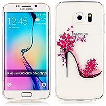 KSHOP Funda Case para Samsung Galaxy S6 Edge Case Cover Carcasa Suave Flexible TPU Silicona gel Forro Delgada Resistente a los Arañazos - zapatos de tacón alto