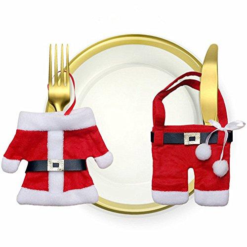 CrazySell Titolare 6 Pz Babbo Natale felice da tavola Argenteria decorazioni di Natale del vestito Dinner Party Tasche Decor set di coltelli e Borse Forcella (Style B)