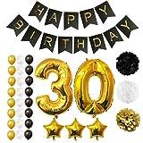Ballons Happy Birthday 30ème Anniversaire, Fournitures et Décorations par Belle Vous - 32 Pièces - Gros Ballon Aluminium 30 Ans - Ballons en Latex 30cm Or, Blanc et Noir - Décors pour Tous les Adultes