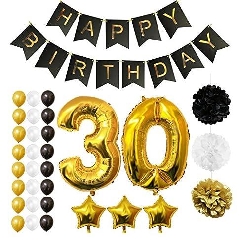 30. Geburtstag Luftballons Happy Birthday Banner Party Zubehör Set & Dekorationen von Belle Vous - Folienballons für den 30. Geburtstag ? Gold, Weiß & Schwarz Latex-Ballon-Dekoration - Dekor für alle Erwachsenen geeignet