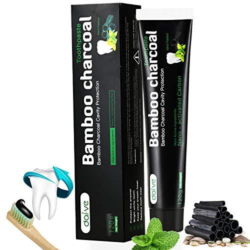 Aktivkohle Zahnpasta - Zähne Weisser Machen Fluoridfreie Zahncreme - Schwarze Zahnpasta - Bamboo Charcoal Whitening Toothpaste durch Natürlich Bambuskohle Mint Flavour 120g