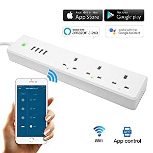 WiFi Smart Power Strip,TOP-MAX Intelligent Surge Protector, Voice Control with Alexa and Google assistant, Individual Control, Timing function, Multi Plug 3 Outlets 4 USB, Remote Controlled appliances, No Hub Require (Smart Power Strip)