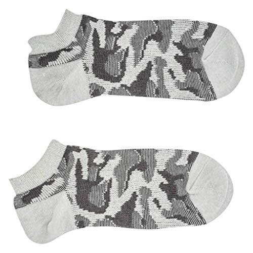 Chejarity Männer Camouflage SportsSocken Sommer Komfortable Anti-Schweiß Baumwolle Atmungsaktive Bootssocken Outdoor-Socken Tennissocken Herren Kurze Sneakersocken 1Paar (One Size, Hellgrau) -