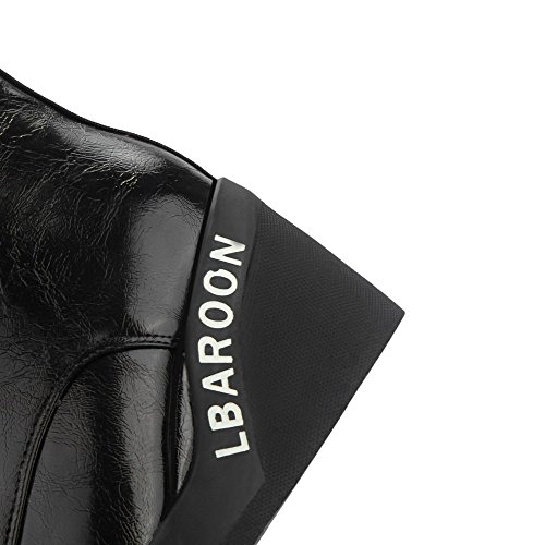 AgooLar Femme Matière Souple Rond Couleur Unie Haut Bas Coin Bottes avec Décoration Métal Noir