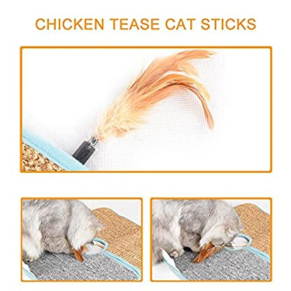 Aolvo Cat Scratcher, Double Sided Natural Tanzania Sisal Cat Scratching Mat Pad Cardboard, Soft and Unbroken, Interactive Cat Scratch Mat Scratcher Replacement with 2 Cat Feather Teaser Toy 6