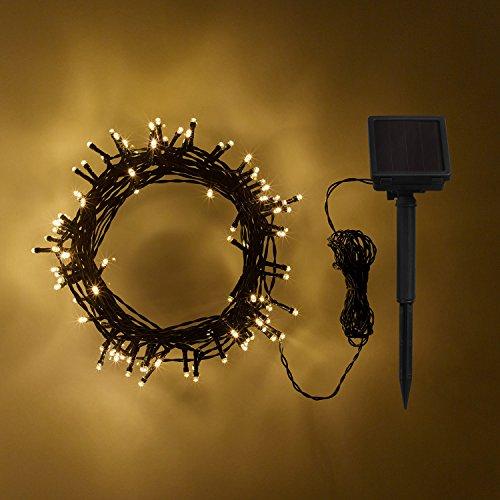 Lights4fun Guirlande Lumineuse Solaire avec 100 LED Blanc Chaud