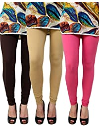 Anekaant Pack Of 3 Cotton Lycra Free Size Women's Legging -Brown, Beige, Pink