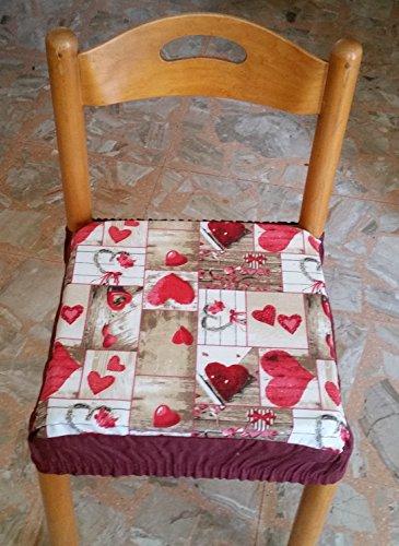 Intimodagiovanni n.6 cuscini coprisedia quadrati universali sfoderabili con zip shabby chic rosso new style