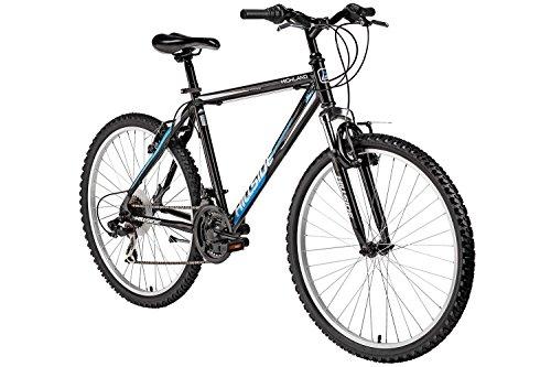 Mountainbike 26 Zoll Hillside Highland in schwarz Hardtail Fahrrad 21 Gang Schaltung MTB Federgabel (Downhill-mountain-bike-bremsen)