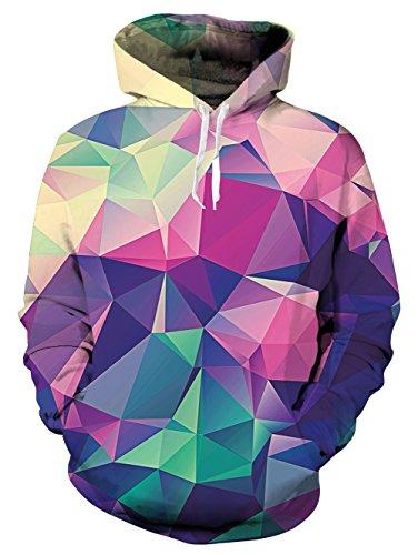 Idgreatim Unisex Mode Farbe Polygon Digital Print Hoodie Casual Kordelzug Jacke Pullover M