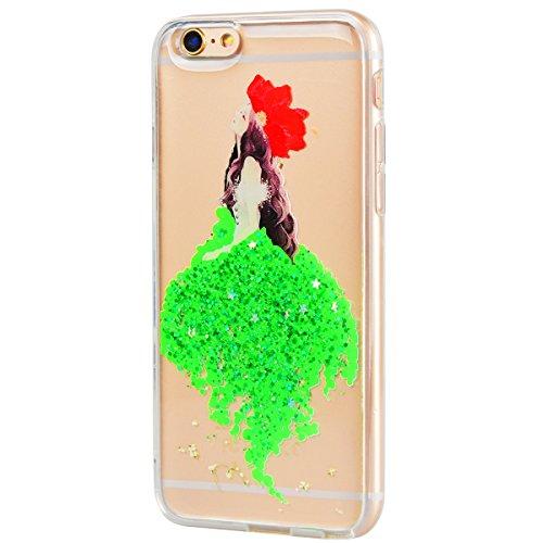 Custodia iPhone 6 Silicone, HB-Int 3 in 1 Rosa Case Cover per iPhone 6S in TPU Bella Ragazza Nuovo Disegni Case [Fiori Veri] Ultra Sottile Morbido Glitter Bling Bumper Protettivo Shock-Absorption Cust Verde