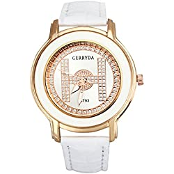Watch - GERRYDA Women Luxury Business Leisure Analog Diamond Watch Quartz Watch color:White