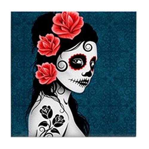 CafePress-Tag der Toten Mädchen blau-Tile Untersetzer, Drink Untersetzer, Untersetzer, Klein (Tattoo Toten Der Tag Mädchen)