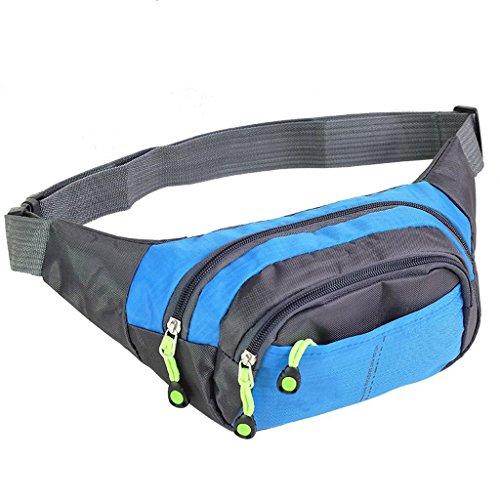 C-Xka Gürteltasche mit verstellbarem Gurtband für Läufer, Radfahrer, Outdoor-Sport, leichte Bauchtasche mit 4 Reißverschlusstaschen (Farbe : Sky Blue) -