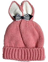 1-6 mois Bonnet Tricoté Cagoule bébé Unisexe Garçons Filles Longra Papillon  Des oreilles de lapin Enfant Casquette Couleur unie Doux… 4185121fd2f