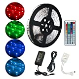 ALED LIGHT Kit de Ruban LED Lumineux 10M / 32.8ft 5050 RGB SMD Multicolore 300 LED Non Etanche Bande LED Flexible Lumineux Strip Light + Télécommande à Infrarouge 44 + Alimentation 24V 3A [Classe énergétique A]