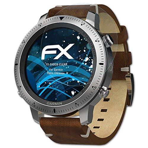 atFoliX Schutzfolie kompatibel mit Garmin Fenix Chronos Panzerfolie, ultraklare & stoßdämpfende FX Folie (3X)
