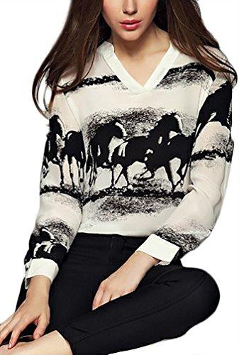 Damen Elegant Blouses V-Ausschnitt Langarm Print Tier Muster Tunika Locker Dünn Festliches Festlich Casual Sommer Langarmshirt T-Shirts (Zebra-print-v-ausschnitt)