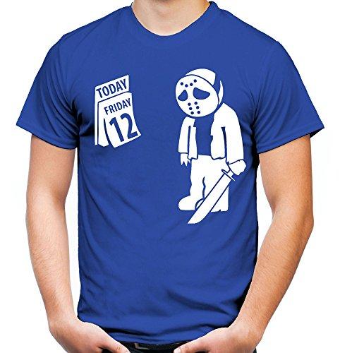 der 12 Männer und Herren T-Shirt | der 13 Halloween Horror Friday Geschenk (S, Blau) (Jason Halloween Kostüm Ideen)